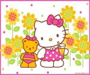 Rompicapo di Hello Kitty con un drink in campagna con il suo orsacchiotto Tiny Chum