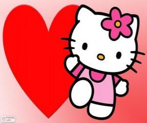 Rompicapo di Hello Kitty con un grande cuore