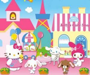 Rompicapo di Hello Kitty ei suoi amici godendo una giornata in pasticceria
