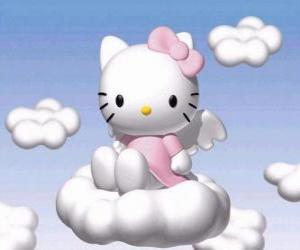 Rompicapo di Hello Kitty volare sopra una nuvola