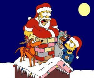 Rompicapo di Homer e Bart Simpson aiutare Babbo Natale con doni