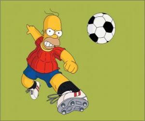 Rompicapo di Homer Simpson a giocare a calcio
