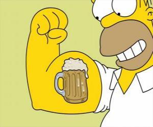 Rompicapo di Homer Simpson orgoglioso della sua forza