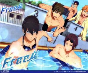 Rompicapo di I cinque protagonisti di Free! Rin, Haruka, Nagisa, Rei e Makoto