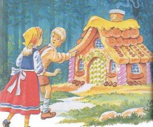 Rompicapo di I due fratelli Hansel e Gretel scoprire una casa fatta di dolci deliziosi