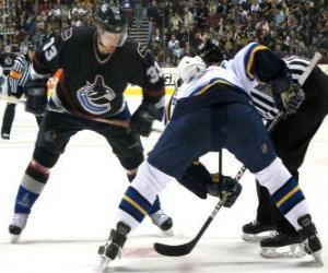 Rompicapo di I giocatori in un match di hockey su ghiaccio