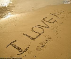 Rompicapo di I LOVE YOU sulla spiaggia