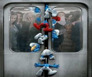 Rompicapo di I puffi sono catturati nelle porte della metropolitana - I Puffi, film -