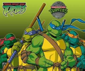 Rompicapo di I quattro Tartarughe Ninja: Leonardo, Michelangelo, Donatello e Raffaello. Tartarughe Ninja o TMNT