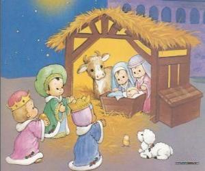 Rompicapo di I Re Magi che fornire i loro doni, oro, incenso e mirra, il Bambino Gesù