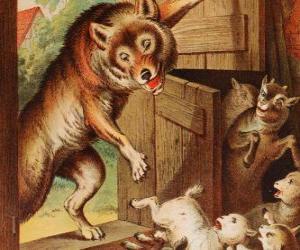 Rompicapo di I sette capretti sono spaventati e correre e nascondersi quando vedono il lupo alla porta