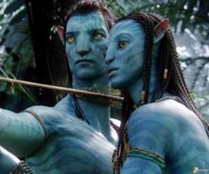 Rompicapo di Il avatar na'vi di Jake e Neytiri pronto a lanciare una freccia