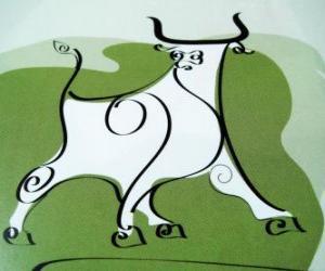 Rompicapo di Il Bue, il segno del Toro, il Anno del Bue. Il secondo animale dello zodiaco cinese