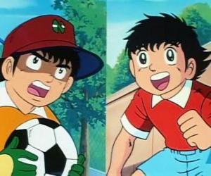 Rompicapo di Il calciatore Holly e il suo amico Benji che gioca come portiere
