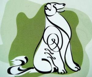 Rompicapo di Il cane, il segno del Cane, Year of the Dog in astrologia cinese. Il penultimo dei dodici animali dello zodiaco cinese
