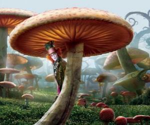Rompicapo di Il Cappellaio Matto (Johnny Depp), nascosto sotto un fungo