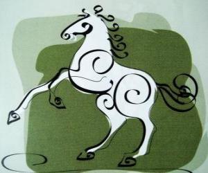 Rompicapo di Il cavallo, il segno del Cavallo, Anno del Cavallo in astrologia cinese. Il settimo animale dello zodiaco cinese
