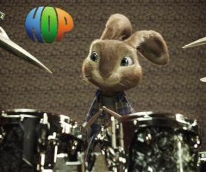 Rompicapo di Il coniglio Hop con le bacchette per fare musica con la batteria