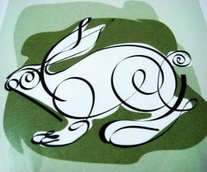 Rompicapo di Il coniglio, il segno di coniglio, l'Anno del Coniglio. Il quarto animale dell'oroscopo cinese