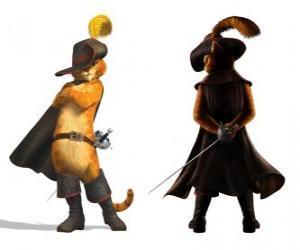 Rompicapo di Il elegante Gatto con una spada alla cintura, cappello, cappotto e gli stivali