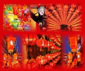 Rompicapo di Il Festival delle Lanterne è la fine dei cinesi celebrazioni per il Capodanno. Bella lanterne cinese di carta