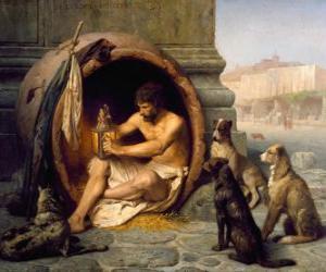 Rompicapo di Il filosofo greco Diogene di Sinope, nel suo barile, per le strade di Atene