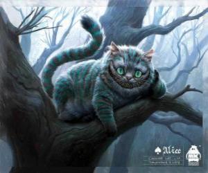 Rompicapo di Il gatto del Cheshire o Lo Stregatto appoggiato su un ramo di un albero