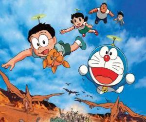 Rompicapo di Il gatto Doraemon con i suoi amici Nobita, Shizuka, Suneo e Takeshi
