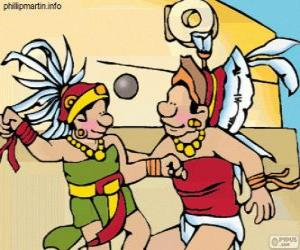 Rompicapo di Il gioco della palla era un rito Maya, i giocatori lottano per passare la palla attraverso l'anello di pietra