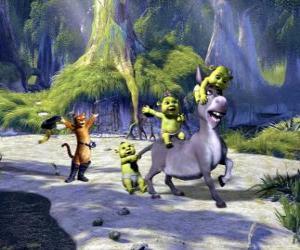 Rompicapo di Il gioco tre piccoli, con Ciuchino e Gatto con gli stivali