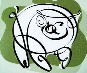 Rompicapo di Il maiale, il segno dil Cinghiale, l'anno del Maiale in astrologia cinese. L'ultimo dei dodici animali dello zodiaco cinese
