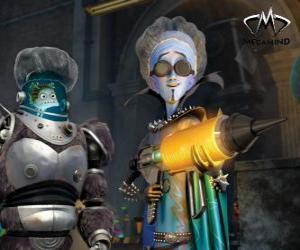 Rompicapo di Il personaggio principale, il malvagio alieno Megamind con Minion, il pesce saggio