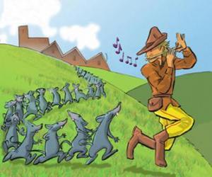 Rompicapo di Il Pifferaio di Hamelin suona il flauto seguita da ratti