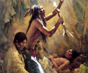 Rompicapo di Indiani d'America in un rito tradizionale, invocando gli spiriti