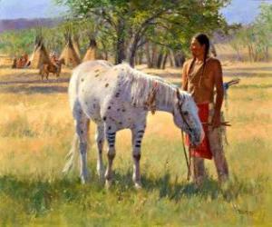Rompicapo di Indiano guerriero con il suo cavallo presso il campo