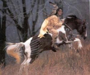 Rompicapo di Indiano guerriero equitazione