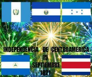 Rompicapo di Indipendenza del Centro America, 15 settembre 1821. Commemorazione di indipendenza dalla Spagna, nei paesi moderni del Guatemala, Honduras, El Salvador, Nicaragua e Costa Rica