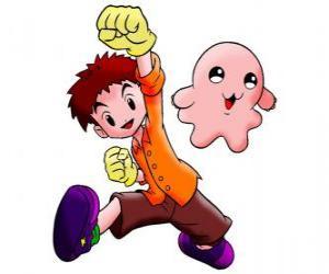 Rompicapo di Izzy con il suo digimon Motimon. Koushiro Izumi è un ragazzo molto intelligente