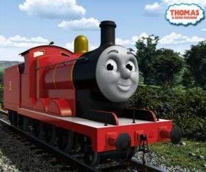 Rompicapo di James, la locomotiva splendida rossa con il numero 5