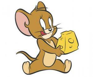 Rompicapo di Jerry mangiando un delizioso pezzo di formaggio