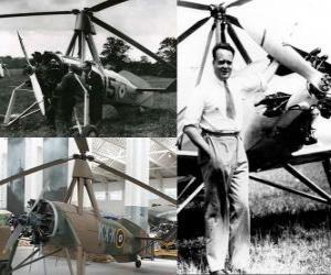 Rompicapo di Juan de la Cierva y Codorniu (1895 - 1936) inventò il autogiro, precursore dell'unità elicotteri di oggi.