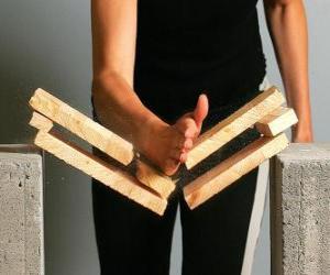 Rompicapo di Karateca rompere un pezzo con un colpo con la mano