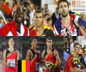 Rompicapo di Kevin Borlée campione 400 m, Michael Bingham e Martyn Rooney (2 ° e 3 °) di atletica leggera Campionati europei di Barcellona 2010