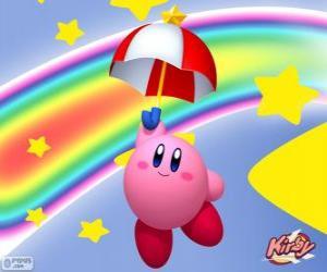 Rompicapo di Kirby con un ombrello che vola tra le stelle e l'arcobaleno