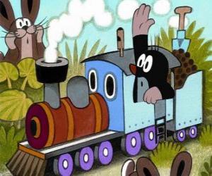 Rompicapo di Krtek, la talpa in una locomotiva a vapore
