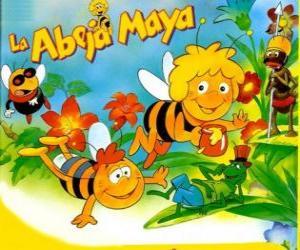 Rompicapo di L'ape Maia e il suo amico Willi sotto lo sguardo di Flip e altri personaggi
