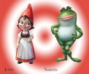 Rompicapo di La bella Giulietta la figlia del leader di Red gnomi da giardino, con il suo migliore amico giardino rana Nanette