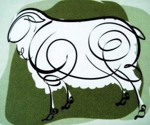 Rompicapo di La capra, il segno della Capra, l'anno della capra in astrologia cinese. L'ottavo segno del calendario cinese