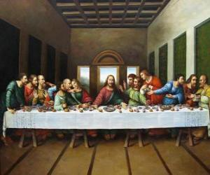 Rompicapo di La cena del Signore o Ultima Cena - Gesù ai suoi apostoli riuniti con la notte del Giovedi Santo