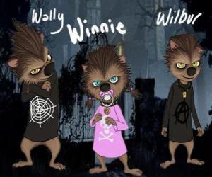 Rompicapo di La famiglia di lupo mannaro. I cuccioli: Wally, Winnie e Willbur